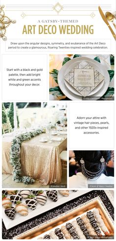 The great minds over at invaluable recently wrote a guide to unique wedding theme ideas that aren't just the common beach, garden, or whimsical look. Art Deco Wedding, Wedding Themes, Wedding Decorations, Diy Wedding, Wedding Ideas, Vintage Hair Pieces, Art Deco Artists, Wedding Gifts For Groomsmen, Gold Palette