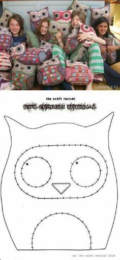 17 trendy sewing crafts for kids fabrics Sewing Toys, Sewing Crafts, Sewing Projects, Sewing Ideas, Owl Patterns, Sewing Patterns, Owl Cushion, Owl Crafts, Creation Couture