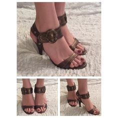 """Laundry by Shelly Segal  Sandals Boho inspired sandals by Laundry. Bronze finish with large bronze buckles. Rustic look looks great with dresses and pants. In excellent condition. Some wear on soles and toe area as well as the heel but nothing noticeable! Leather upper and sole. Please refer to photos. Otherwise the shoes do not have any scratches or nicks. Made in Italy  Size 7.5. 4"""" heels. Price is firm. No trades! Laundry by Shelli Segal Shoes Sandals"""