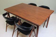 AM MOBLER Vintage Walnut DINING TABLE: Danish 1950s Mid Century Modern #MidCenturyModern #AM