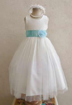 Flower Girl Dress IVORY/Blue Aqua RB POLOS by NollaCollection, $29.99