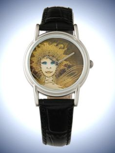 Women's Classic Black Leather Strap Watch with Golden Art Déco Style Fairy Face