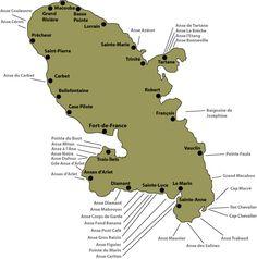 Carte des plages de Martinique.