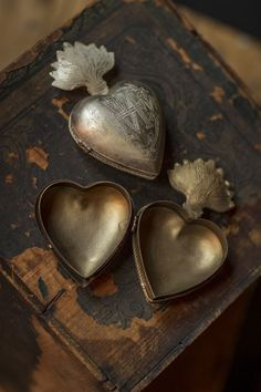 Mexican tin. Flaming heart, corazon. LitanyJewelry #inspiration for #Milagros y Visionarios Winter 2013