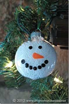 Styrofoam balls in glass ornament with painted on face.