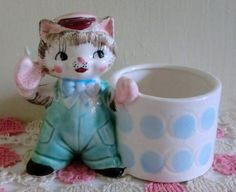 VINTAGE Ceramic Kitty Cat PLANTER Pink and Blue by BabylonSisters