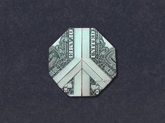Hello, Up for sale is a beautifully crafted Origami Peace Sign. It's made with a real dollar bill. Origami Love Heart, Origami Star Box, Art Origami, Origami Folding, Origami Design, Origami Stars, Origami Easy, Paper Folding, Oragami