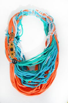 Long Scarf Orange Green and Turquoise Summer by theELEPHANTpink, $55.50
