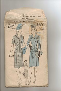 Vintage 1940s Advance Sewing Pattern 3086 Two Piece by CloeCessna, $15.00