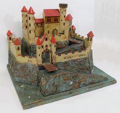 Antique German, Moritz Gottschalk, Childs Wood Toy Castle, Original Paint, NR #Americana