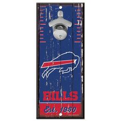 Open up your favorite brew like a pro with this Buffalo Bills wall-mount bottle opener. Buffalo Bills Hotel, Nfl Buffalo Bills, Wall Mounted Bottle Opener, Beer Bottle Opener, Bottle Openers, Novelty Socks, Novelty Items, Seat Belt Pads, Packaging