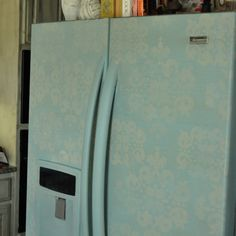 Photo Credit: The Paint Bubble A damask fridge--who knew?