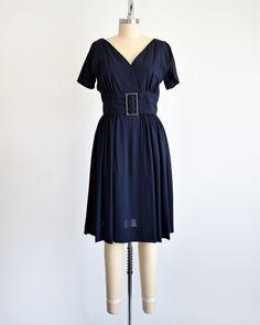 Sz 8 1960s Nubby Navy Knit Dress by Bleeker Street