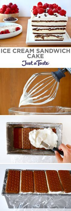 Easy Ice Cream Sandwich Cake recipe from justataste.com #recipe #summer @justataste