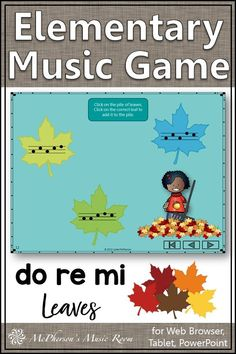 LOVE this elementary music fall music game! Aurally identifying solfege (do re mi) is so much FUN with this interactive melody game. Perfect for your fall music lesson plans or anytime. Works great for distance learning, music centers or whole group instruction. Music Activities, Music Games, Music Classroom, Music Teachers, Elementary Music Lessons, Music Lesson Plans, Teaching Music, Music Education, Distance
