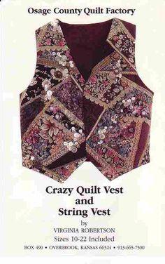 Quilted Vest Pattern - Crazy Quilt Vest - UNUSED
