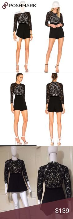"""Alexis Tamy Romper in black&white lace overlay top Condition: brand new without tags, never worn. Brand label was slightly snapped. Fein a separates look with the Tammy Romper by Alexis. A delicate lace top and tonal shorts are divided by a velvet band to create contrasting textures. Eyelash trim further juxtaposes the sleek bottoms to create a one piece that's both charming and edgy.Hidden back zip and hook closures Lace overlay top Eyelash trim Model Measurements: Height 5'8.5""""; Waist 24""""…"""