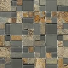 Emser Tile Lucente Random Sized Stone and Glass Mosaic Pattern Blend in Romano