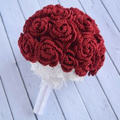 Crochet Roses Crochet bridal hand Bouquet with red roses and lace. Also perfect for proposal and Valentines gift. Let me know if you want another color, it will be nice hearing from you. All crocheted and heartfully handcrafted only for you :) - Crochet Bouquet, Crochet Puff Flower, Crochet Flower Patterns, Flower Applique, Love Crochet, Crochet Gifts, Crochet Flowers, Crochet Ideas, Hand Bouquet Wedding