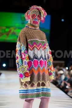 Central Saint Martins fashion graduate Katie Jones launched her new vibrant collection at Brighton Fashion Week. She used various crochet stitch techniques to explore tone and texture, while covering her models faces with playful knitted masks.