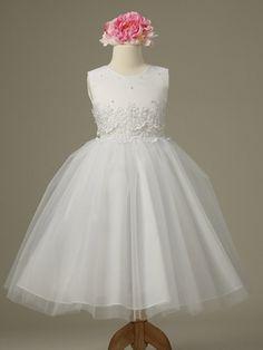 White Cinderella Tulle Flower Girl Dress