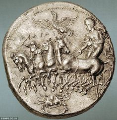 A few more of these might sort out their crisis: Ancient Greek coin valued at a cool set for auction Worth big bucks: The obverse of the coin is stamped with the image of a Quadriga, or four horse chariot Ancient Greek Art, Ancient History, Art History, European History, Ancient Aliens, Ancient Greece, Ancient Egypt, American History, Coin Art