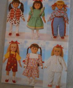 "18"" Doll Dress Leggings Overalls Shoes Shirt Tights Butterick 5295 Pattern Uncut #Butterick #DressLeggingsOverallsTopShirtPantsTights"
