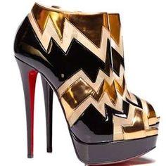 Black  Gold Louboutin Bootie Design works No.231  Gold Heels 
