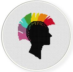 FREE for Aug 20th 2014 Only - Rainbow Head Punk Cross Stitch Pattern