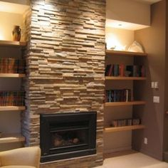 my family room makeover plan: floating shelves on both recessed walls on each side of the fireplace