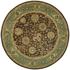 Antiquity Brown/Green 8 ft. x 8 ft. Round Area Rug
