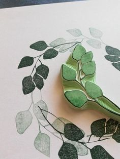 Eucalyptus leaves rubber stamp for journaling, rustic twig stamp, country wedding decoration, tree branch stationery, birthday gift friend Stamp Printing, Printing On Fabric, Screen Printing, Textile Prints, Leaf Prints, Textile Art, Sister Birthday Presents, Tree Branch Decor, Country Wedding Decorations