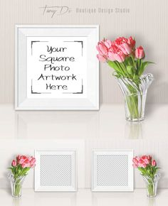 Square White Frame Mock-up Pink Tulips 3 by TanyDiDesignStudio