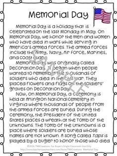 This Memorial Day Reading Passage and Activities are a perfect way for your students to celebrate and learn about the holiday! Memorial Day Poem, Memorial Day Activities, Memorial Weekend, Holiday Activities, Activities For Kids, Crafts For Kids, Reading Comprehension Worksheets, Reading Passages, Memorial Day Coloring Pages