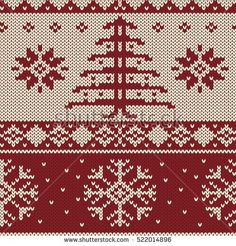Knitted christmas texture, seamless vector pattern.