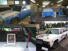 Eihän tähän kannata aina liian vakavasti suhtautua. Romutukselta pelastettu auto sai  osakseen Motörhead-teeman. Lemmyn kuolema pisti kuulemma lisää vauhtia projektiin.  Aiemmin sinisellä uretaanimaalilla vedetty auto sai nyt mattavalkoisen pinnan sekä näköjään muutamia tehosteita!