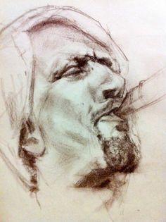 sketch / drawing of jazz saxophonist oliver fox by cornelia es said #jazz #drawing #sax #sketch #charcoal #berlin