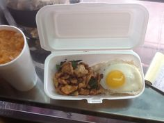 Basil chicken  with sunny side up eggs! aka ( pak kra Pao Kai dao) a must have Thai dish! Eggs make everything better!