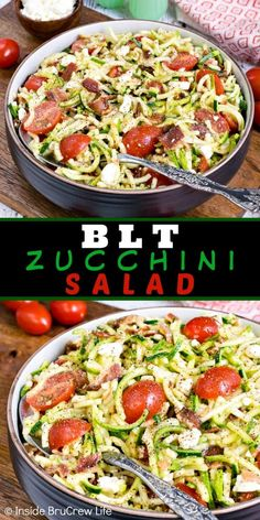 BLT Zucchini Salad - bacon, zucchini, and tomatoes make this healthy low carb salad a delicious side dish. Make this easy recipe for picnics and dinner parties! recipes for dinner Zucchini Side Dishes, Bacon Zucchini, Low Carb Side Dishes, Healthy Side Dishes, Side Dish Recipes, Side Dishes For Pasta, Zuchinni Salad, Zucchini Noodles Salad, Picnic Side Dishes