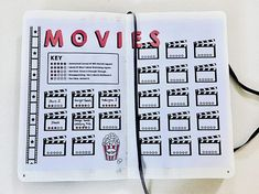 Movie Tracker Bullet Journal Printable, 2 Printable Pages Created by cutandpasteBUJO Includes one Bullet Journal Tracker, Bullet Journal Inspo, Bullet Journal Planner, Bullet Journal Spread, Series Tracker, Movie Tracker, Journal Layout, My Journal, Journal Notebook