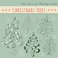 Christmas Tree Overlays // Hand Drawn Doodle Clip Art & Vectors // Editable // Xmas Holiday Green // Brush Stamp // Seasonal Photo Overlay
