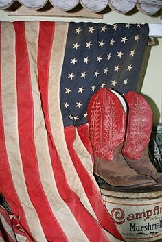 .american flag cowboy boots and campfire marshamallos...doesnt get any better than this!! :))