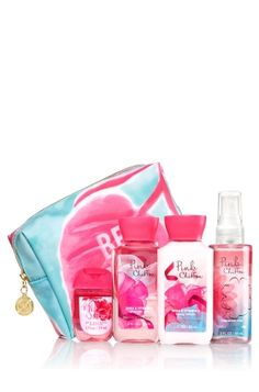 Pink Chiffon - Be Happy Gift Set - Bath & Body Works - Say hello to on-the-go fragrance fun! This cute cosmetic bag is filled with a germ-killing PocketBac (1 fl oz) and travel sizes of our super-lathering Shower Gel, hydrating Body Lotion & skin-loving Fine Fragrance Mist (3 fl oz each). The perfect gift for a girl on-the-go!