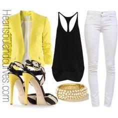 yellow blazer, black top, white pants and heels
