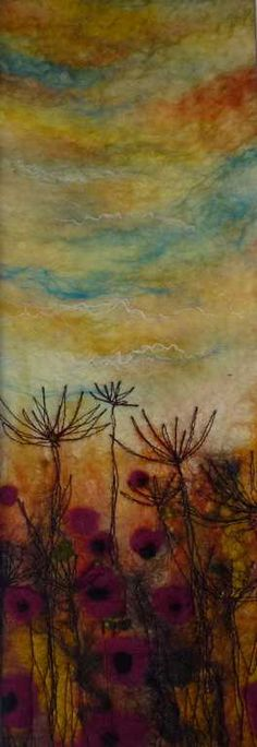 'Autumn Meadow' SOLD   -   Threlfall's Art Studio | Silk Paintings | Felt Paintings | Acrylics | Caren and Pete | Country, Town and Seascapes | Workshops |