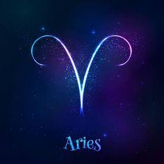 Bleu brillant cosmique néon zodiaque symbole Bélier vectoriel Banque d'images - 45876348