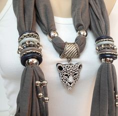 grey jewelry scarf with jewelry accessories and big by BienBijou, $24.00