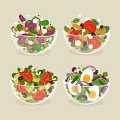 Fruit and salad bowls flat style , Salad Design, Food Design, Food Clipart, Candy Clipart, Restaurant Poster, Food Truck Festival, Fresh Fruit Salad, Different Vegetables, Food Backgrounds