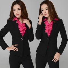 Free Shipping !2014 High Quality New Fashion Women's Formal Office Suits Work Wear  OL Style Suits Pants +Coats Fashion-inBlazer & Suits fro...