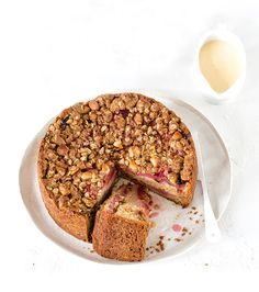Pair in-season rhubarb with delicious macadamias for an autumnal tea cake everyone will love.